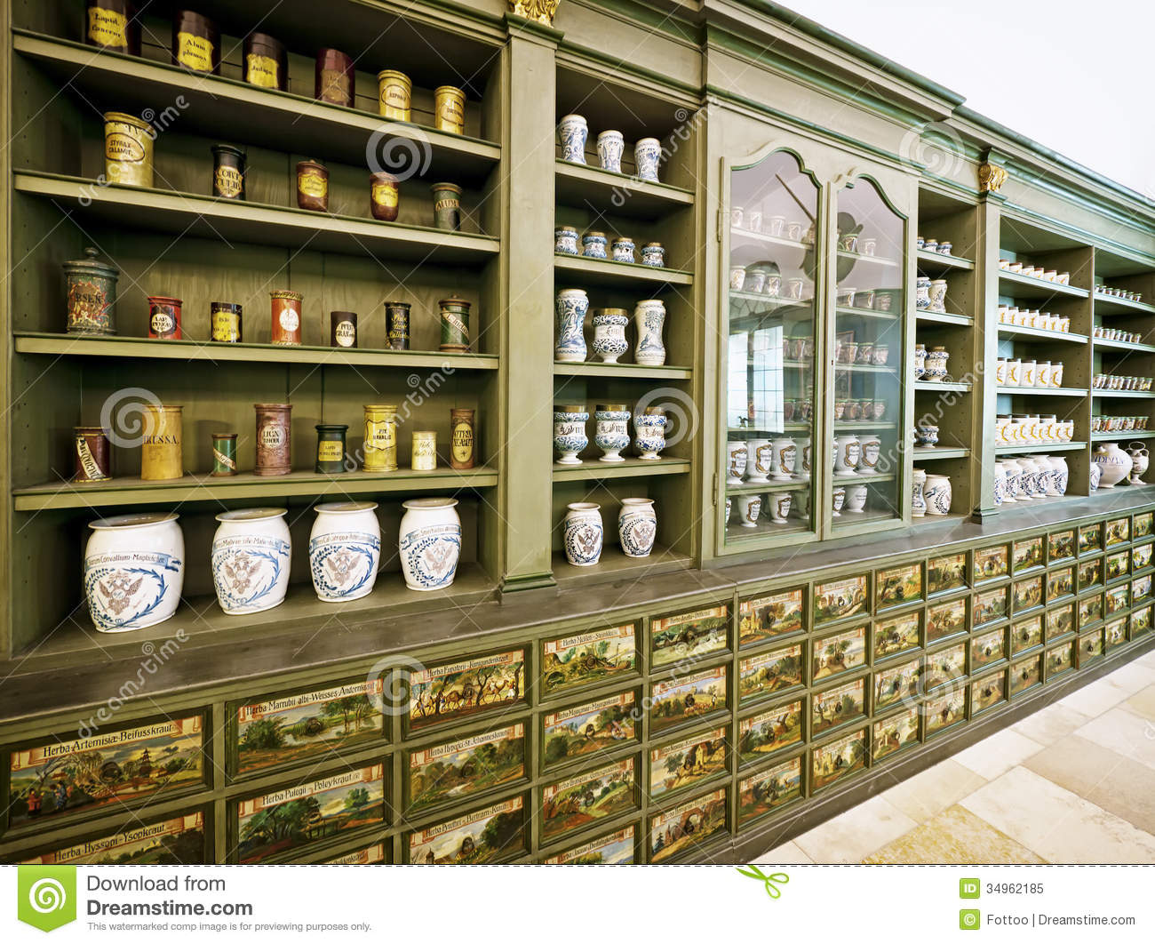 Beautiful antique pharmacy - old cupboard - Old Pharmacy Stock Image. Image Of Past, Indoors, Medicine - 34962185