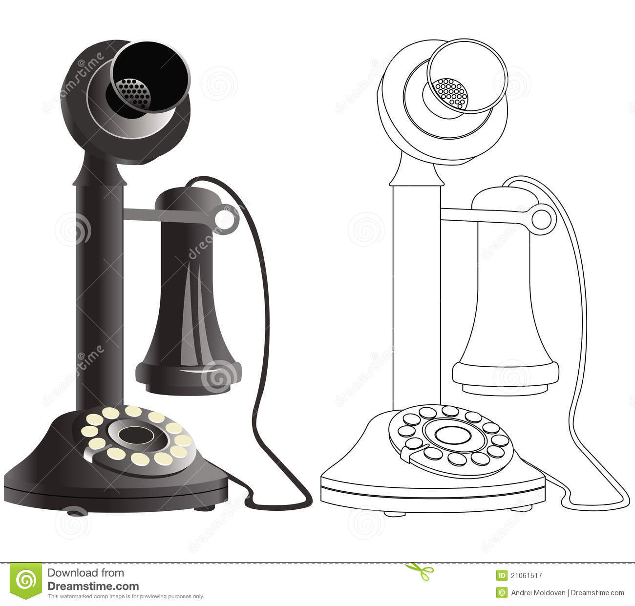 Old Phone Drawing Stock Vector Illustration Of Ancient