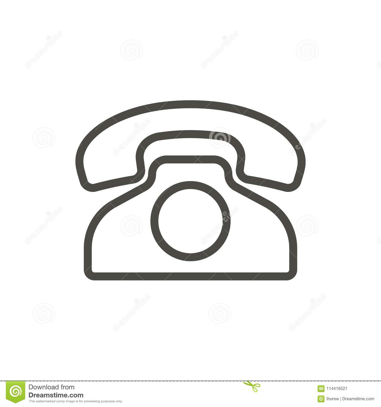 Old phone icon vector. Outline telephone. Line vintage phone symbol.