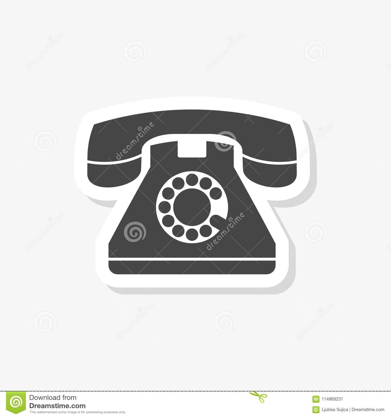 Old phone sticker, Phone vector icon, Old vintage telephone symbol, simple vector icon