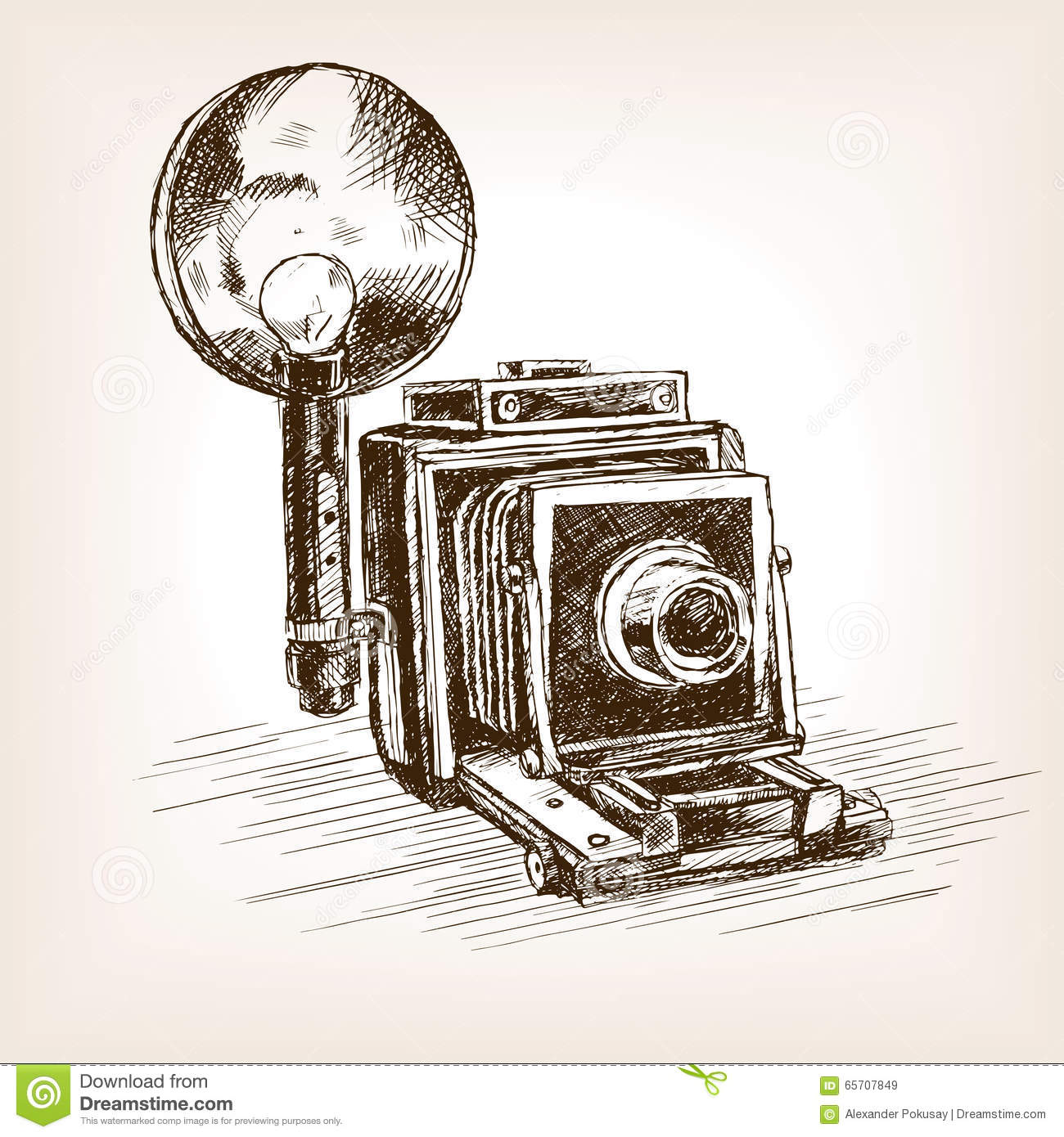 Old Photo Camera Sketch Style Vector Illustration Stock Vector - Illustration Of Analog Black ...