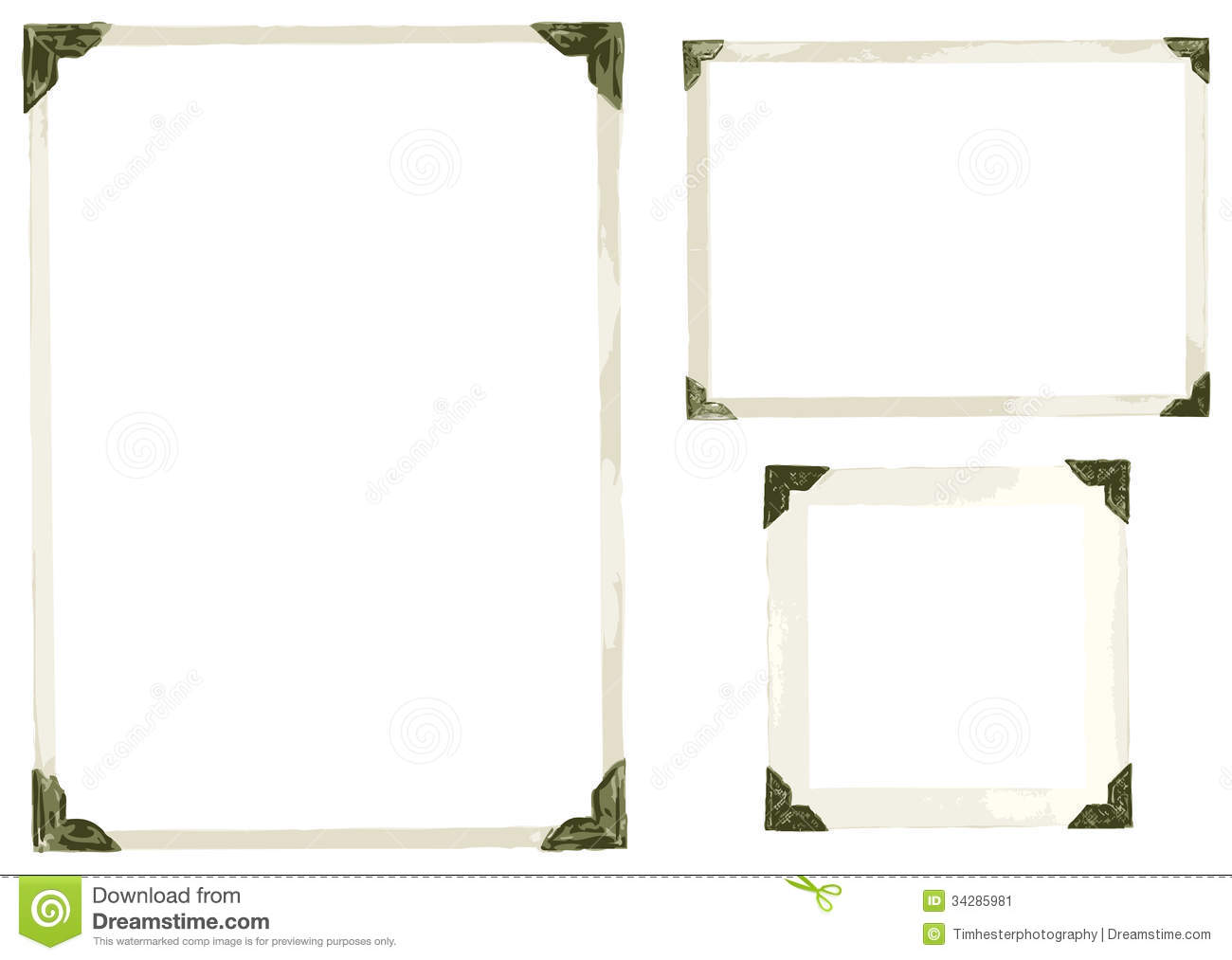 corners edges isolated old photo vector white vintage memory corner
