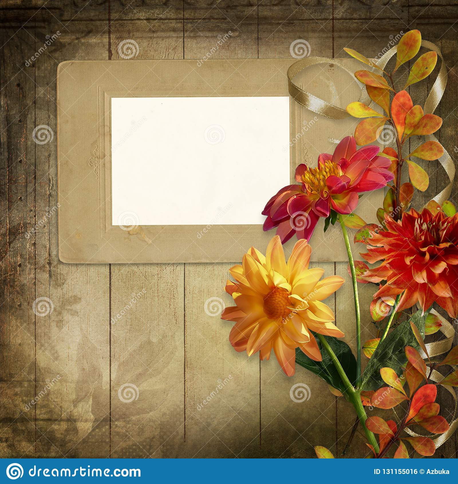 Old Photo Frame With Beautiful Flowers And Ribbon On Vintage Wooden Board Stock Illustration Illustration Of Grunge Happiness 131155016