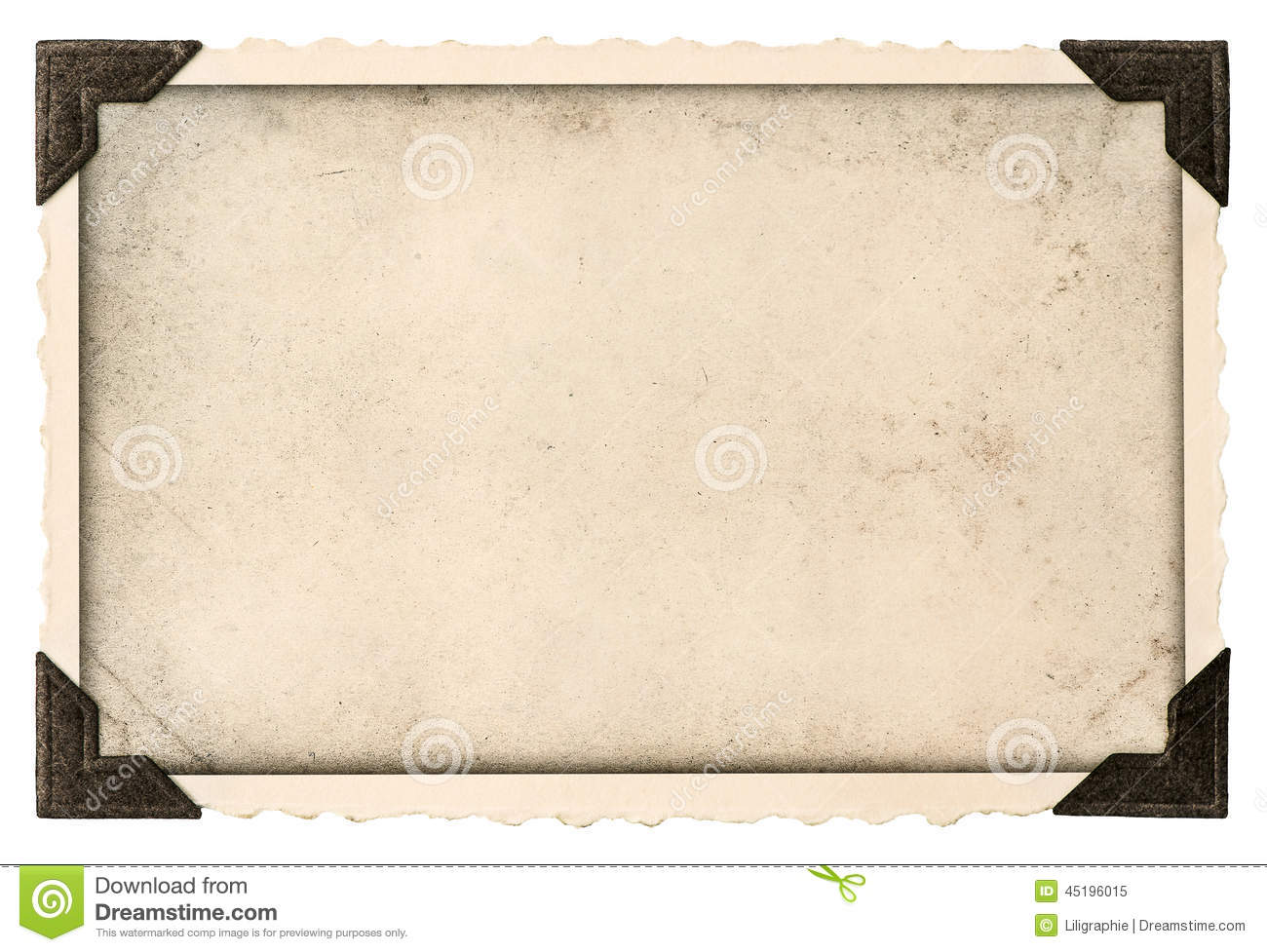old photo frame with corner and empty field for your picture isolated