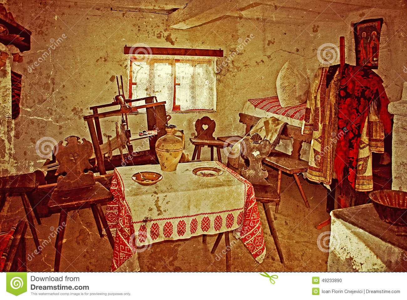 Old Photo With Romanian Traditional Home Interior 7 Stock Photo