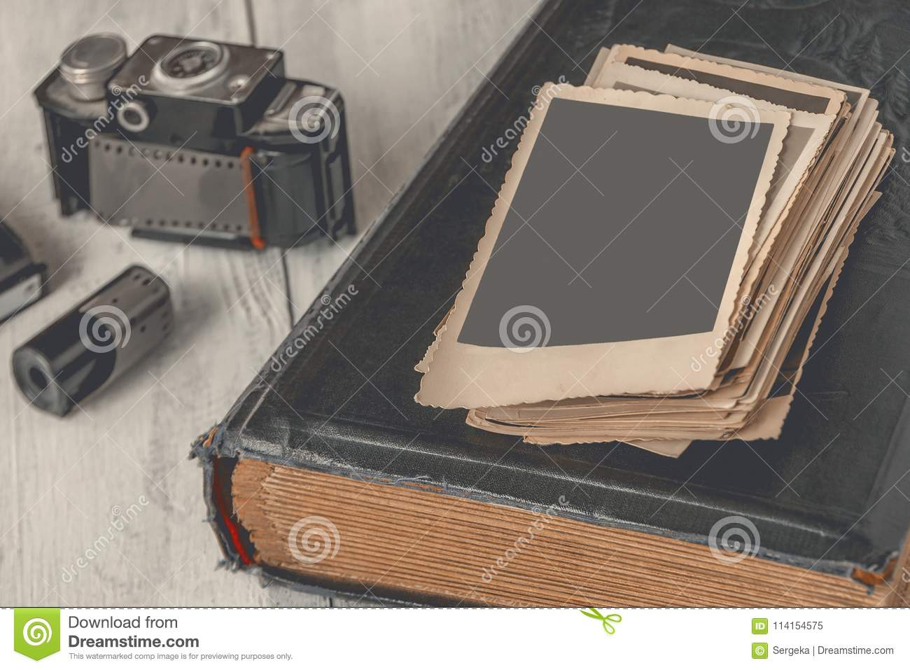 Old Photographs And Family Album Stock Image - Image of