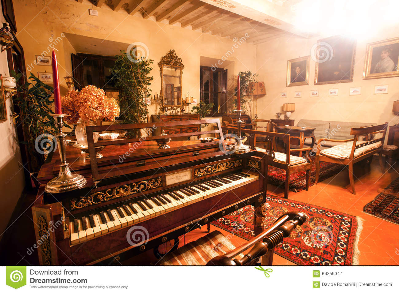 Old piano - Music room editorial photography  Image of