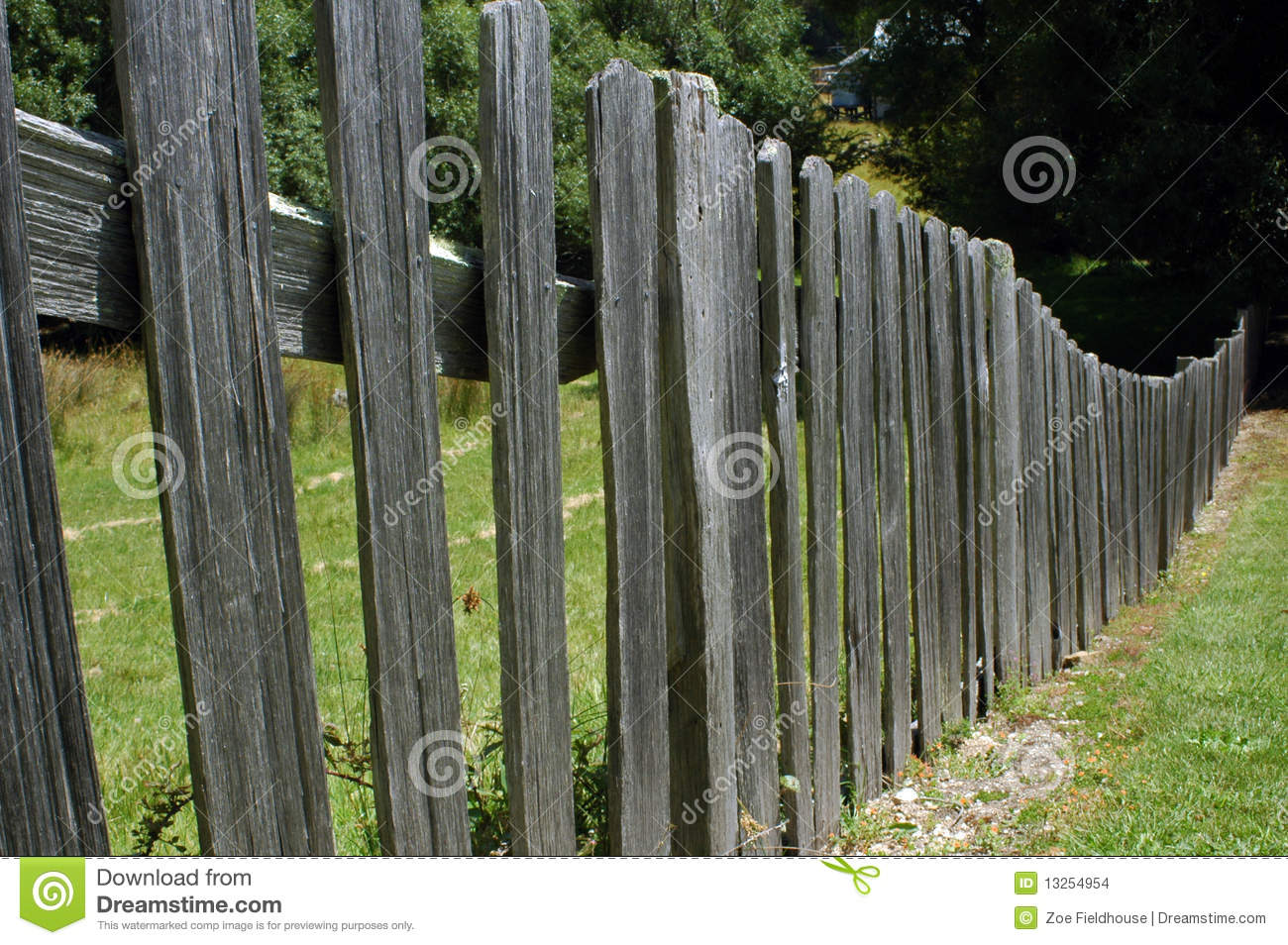 Old picket fence stock photo image of wooden paddock
