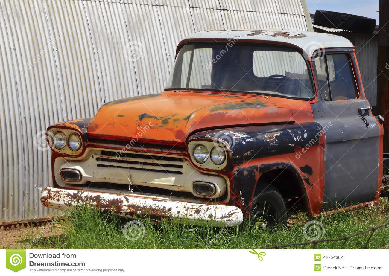 An Old Pickup Truck In A Junkyard Stock Photo - Image: 42754362