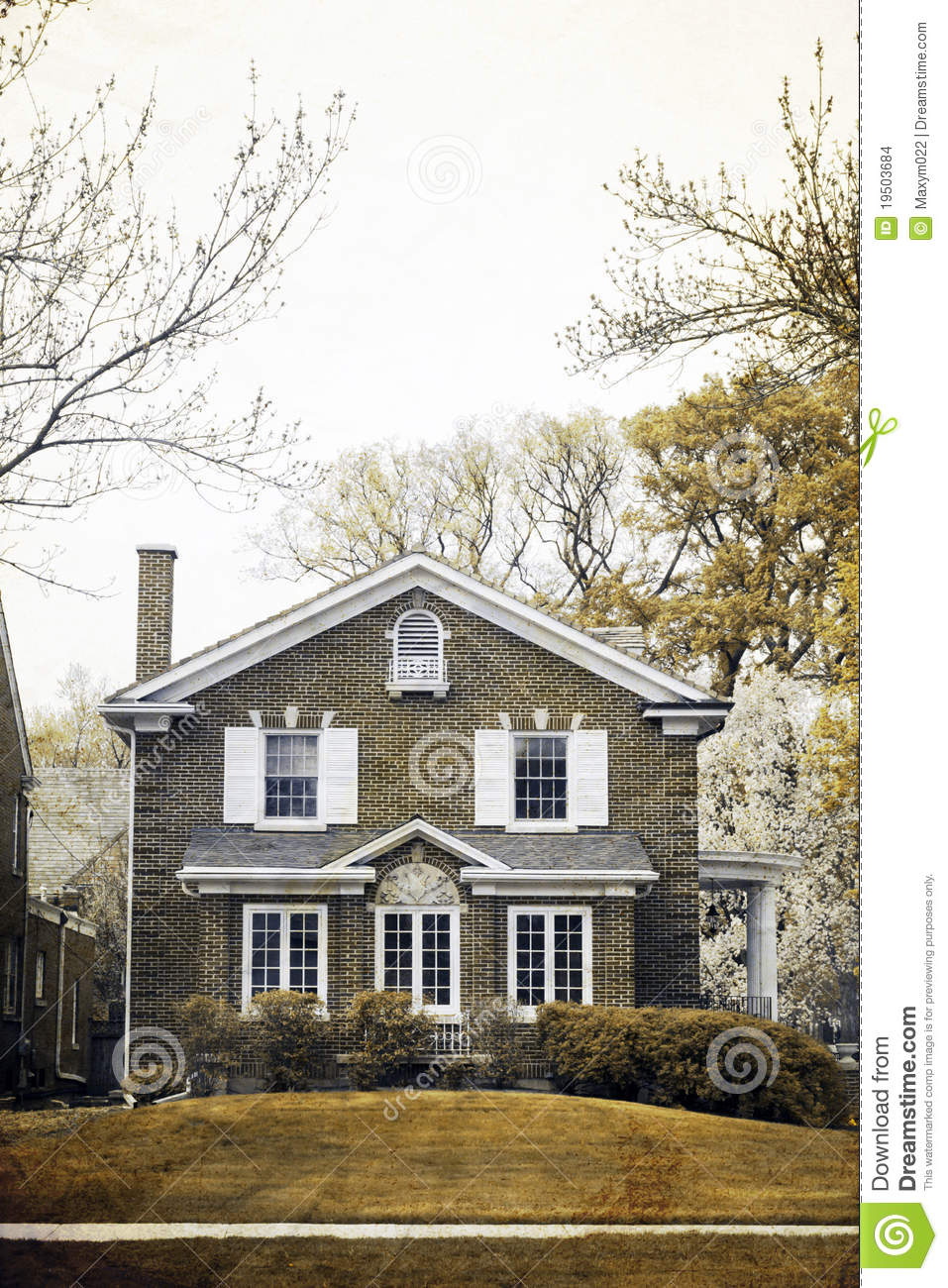 Old picture effect traditional home in spring stock for Traditional american home