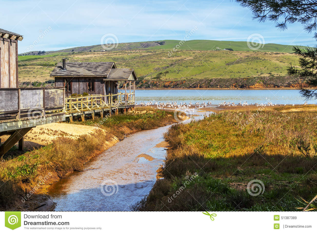Old pier house in northern california stock photo image for Small towns in northern california