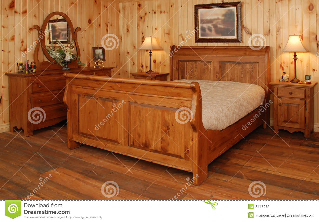 old pine wood bedroom set royalty free stock photos image 5116278