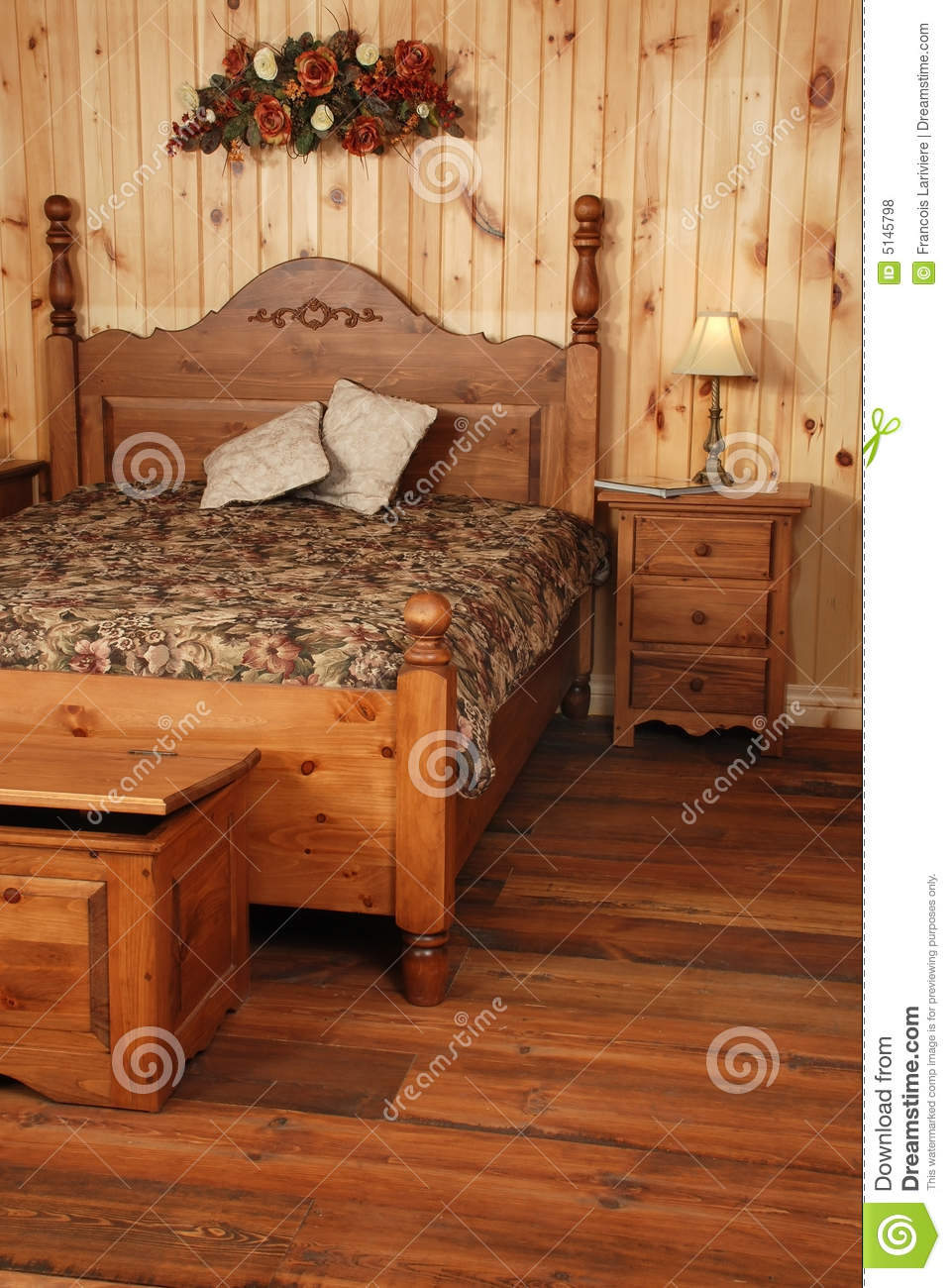 Old Pine Wood Bedroom Set Stock Photo Image Of House 5145798