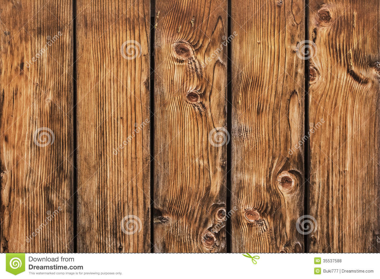 Old Pine Wood Planks Fence With Knots Detail Royalty