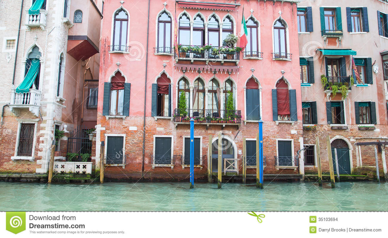old pink building on venice canal stock images image