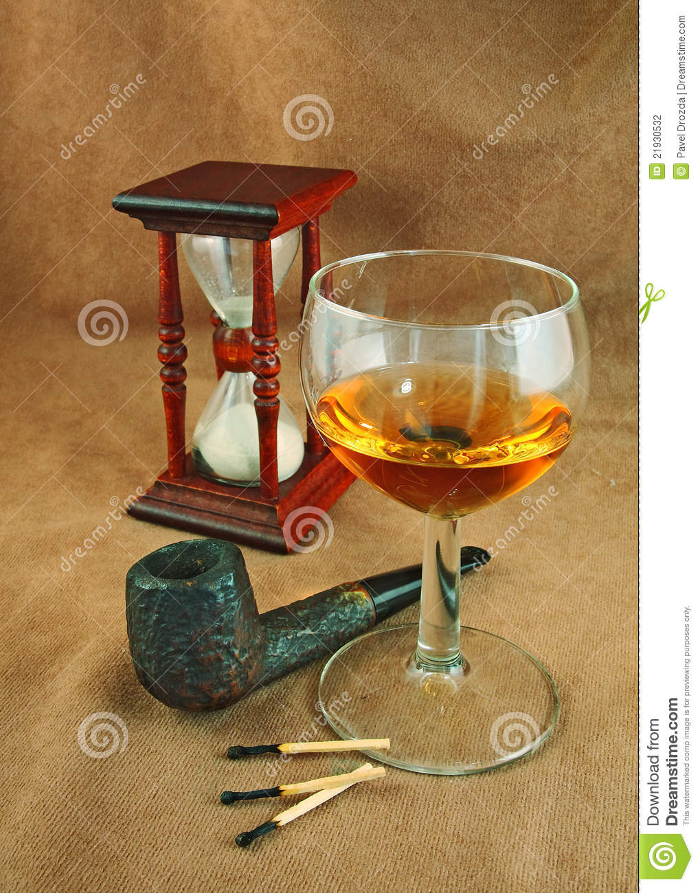 Old Pipe And A Glass Of Whiskey Stock Photo - Image of smoking