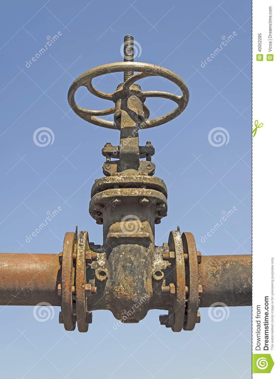 old pipe with large valve stock image  image of conduit