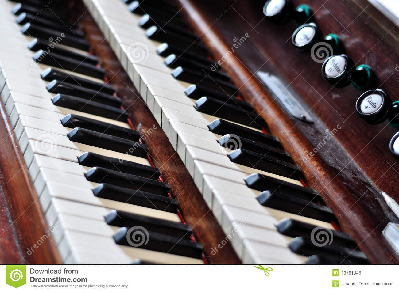 An old pipe organ keyboard stock photo image of bass for Classic house organ bass