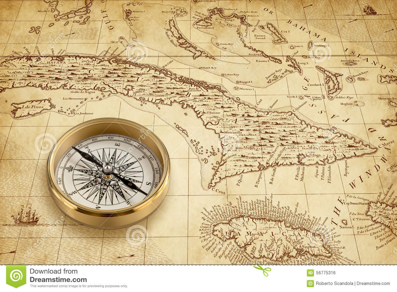 old pirate map with brass compass stock photo image 56775316. Black Bedroom Furniture Sets. Home Design Ideas