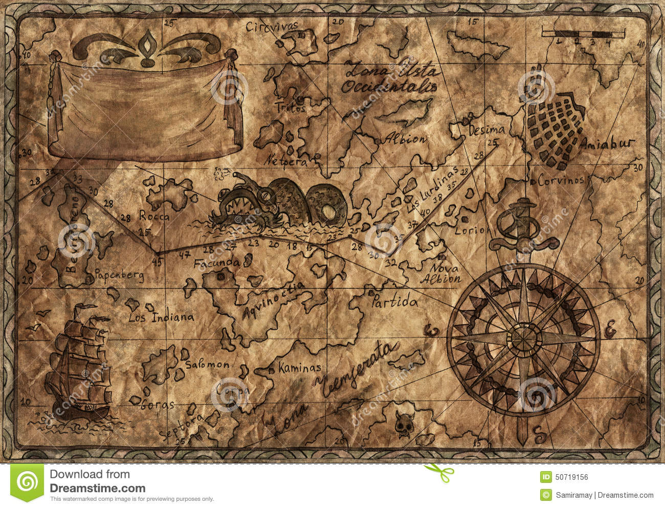 Pirate World Map.Old Pirate Map With Desaturated Effect Stock Illustration
