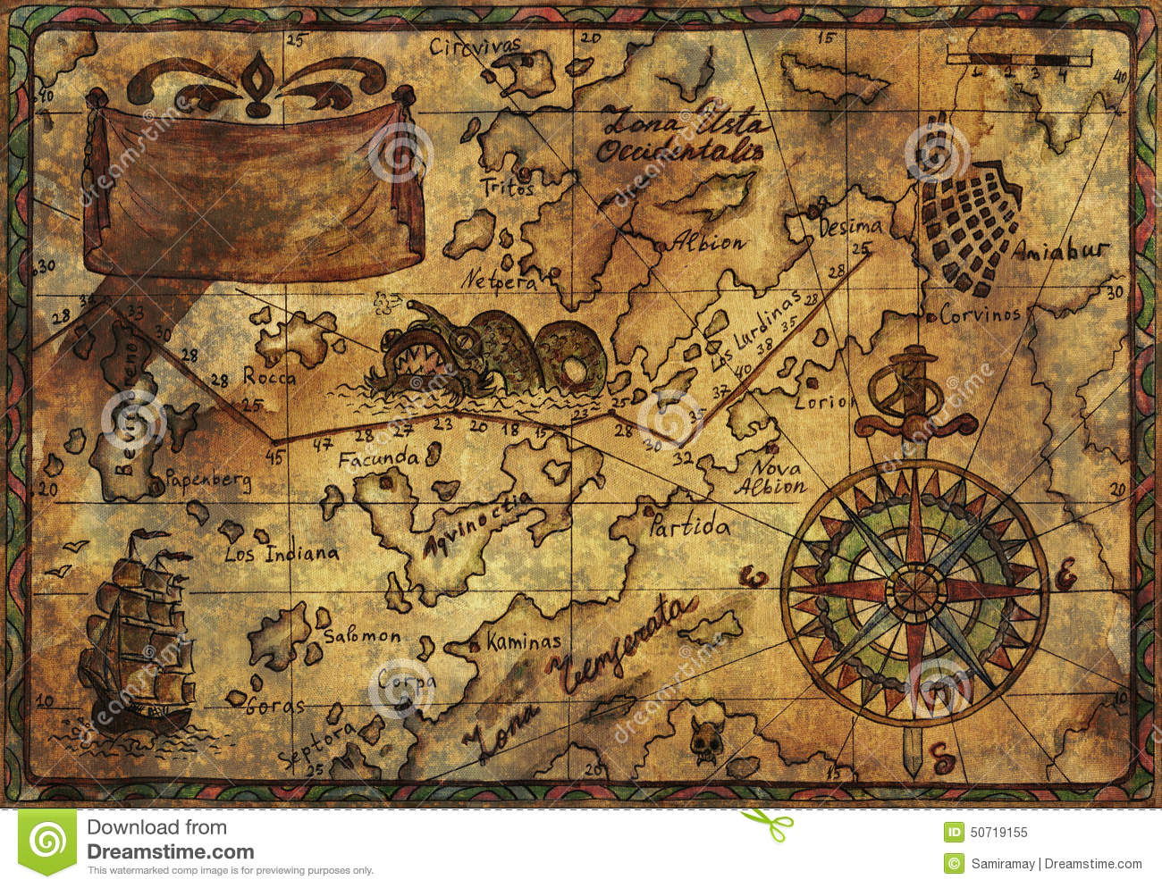 Old Pirate Map With Fabric Texture Effect Stock Illustration - Image ...