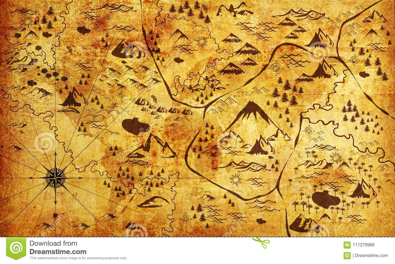 Old Pirate Map Photo Wallpaper For Interior 3d Rendering