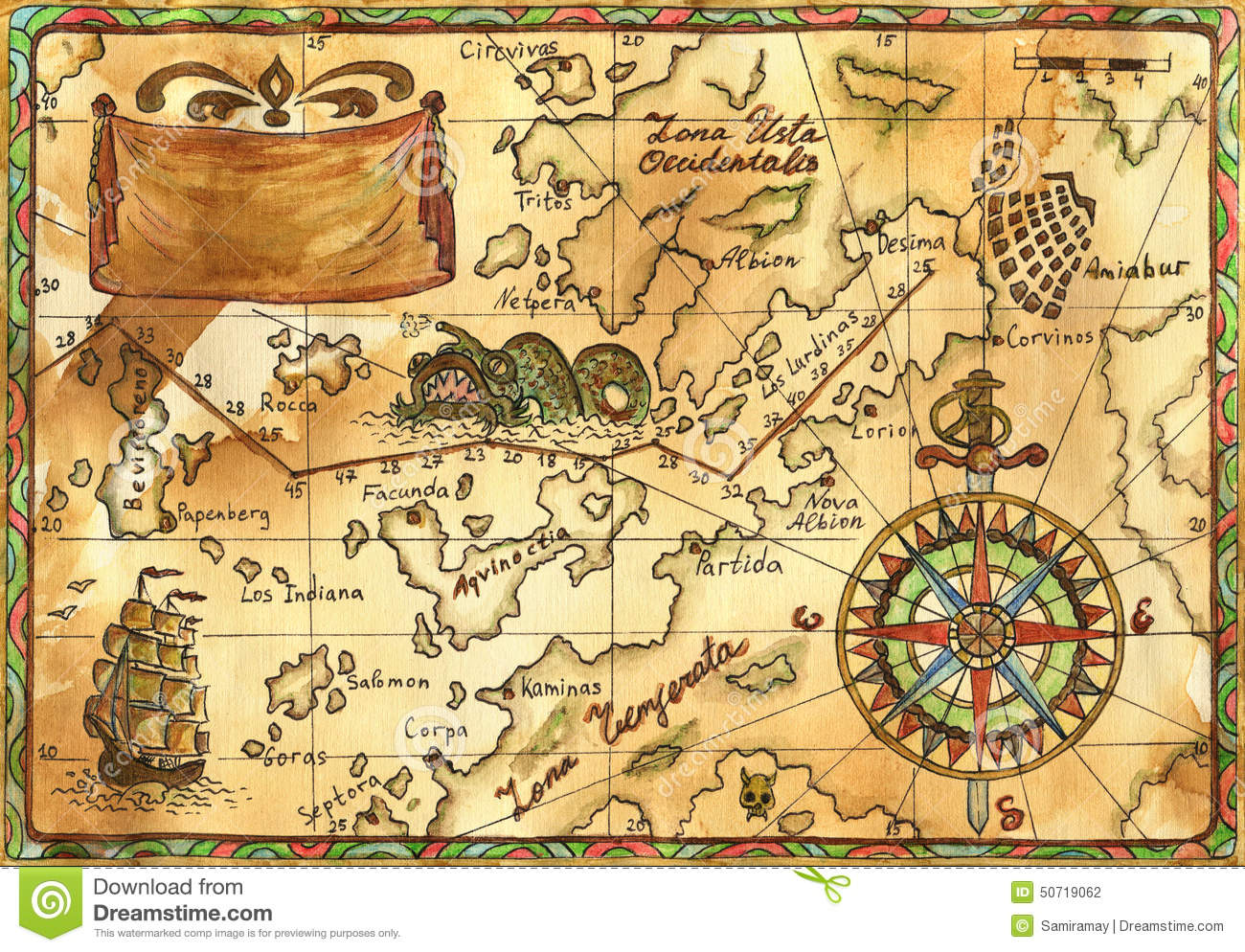 Old pirate map with ship banner and rose of winds stock old pirate map with ship banner and rose of winds gumiabroncs Images