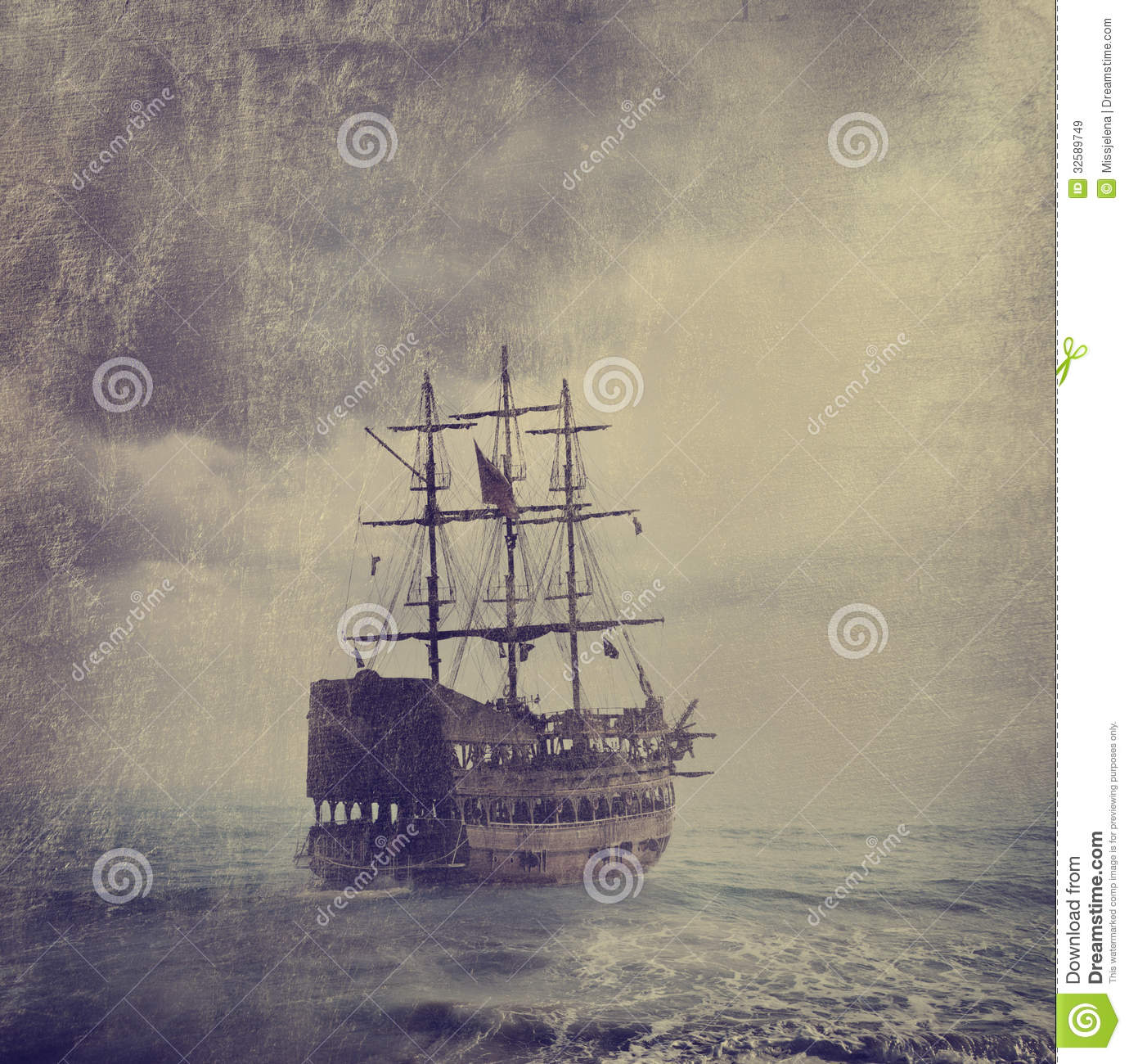 Old Pirate Ship Royalty Free Stock Images - Image: 32589749