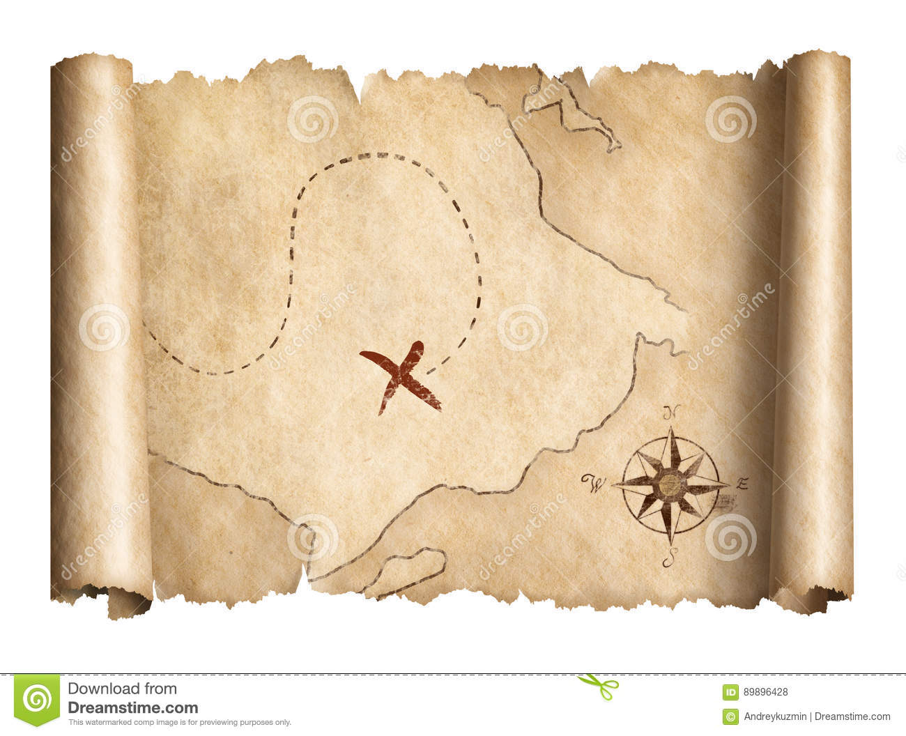 Old Pirates Treasure Scroll Map Isolated 3d Illustration Stock