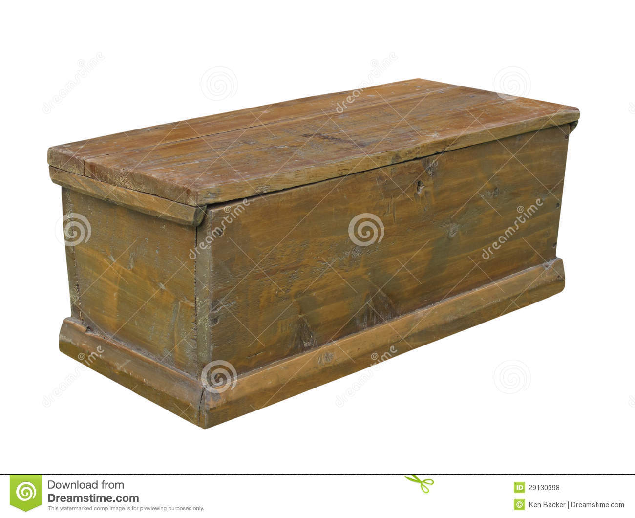 Plain Long Vintage Rustic Wooden Chest With A Lid. Isolated On White. Full resolution  portraiture, nominally Width 1300 Height 1060 pixels, portraiture with #85A724.