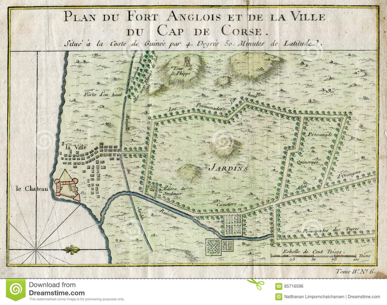 Anglois old plan cap corse ghana fort anglois 1750 editorial photo