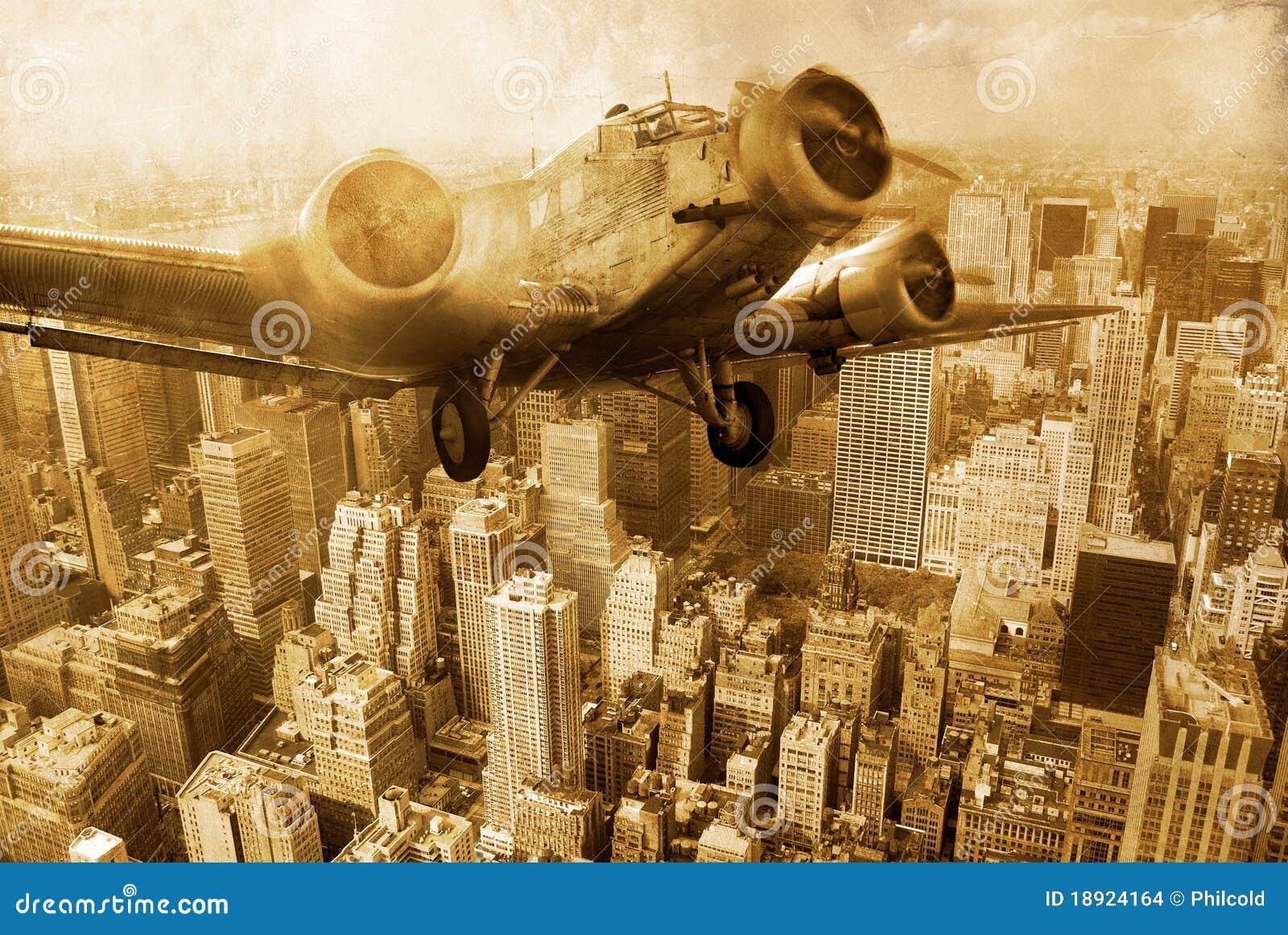 Old plane above Manhattan