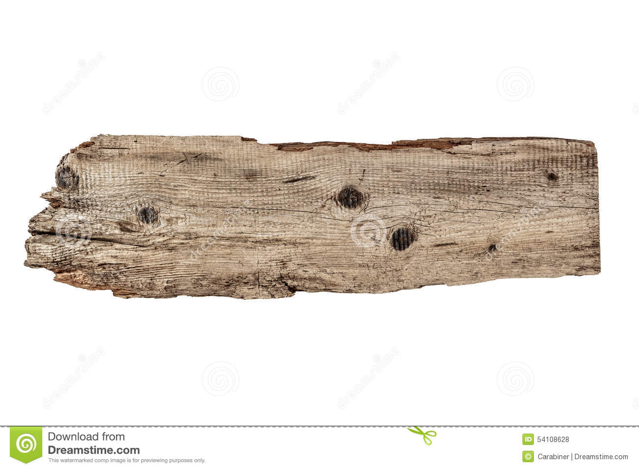 Old plank of wood isolated on white stock photo image
