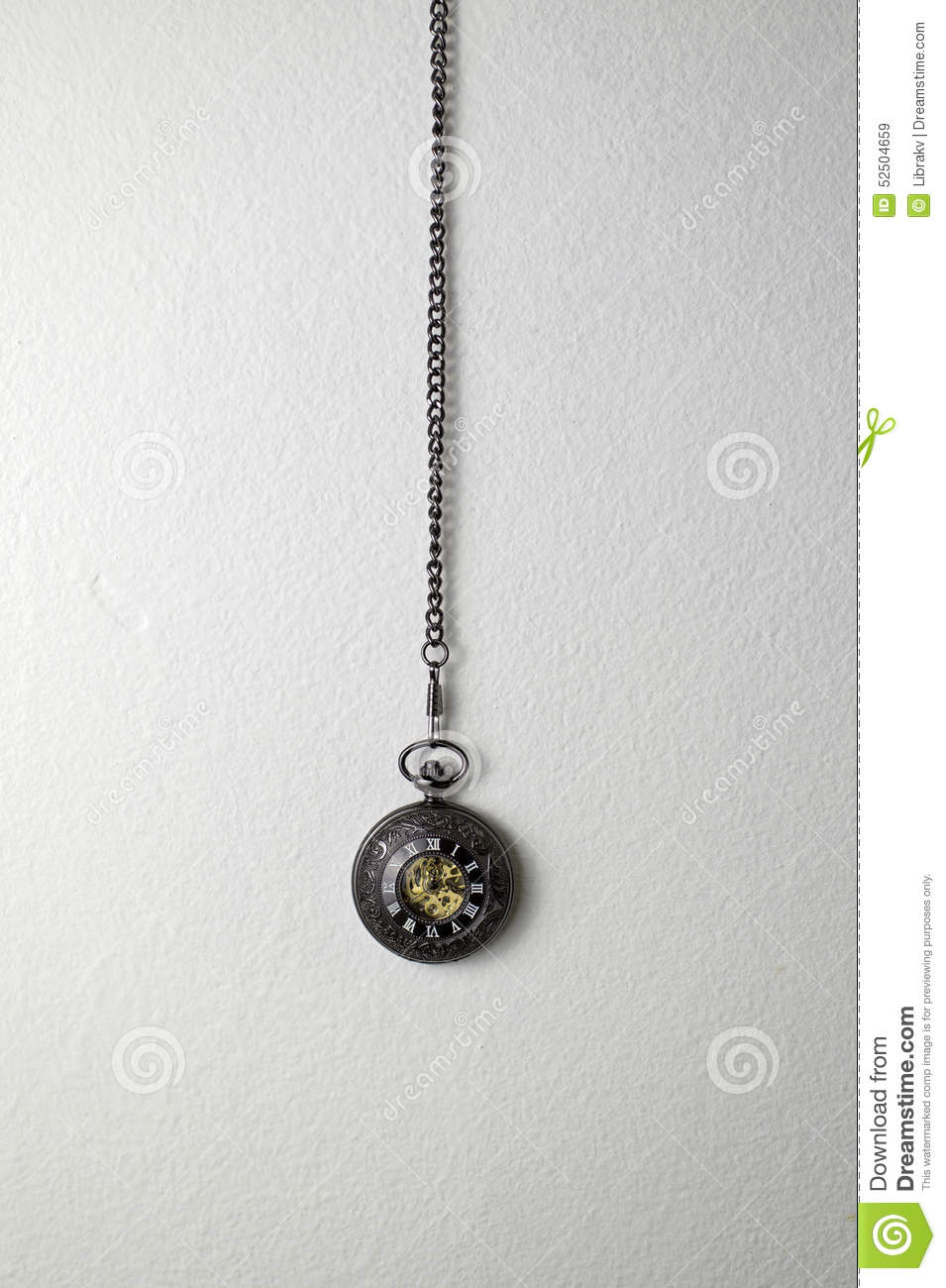 Old Pocket Watch Hanging On The Wall Stock Image - Image ...