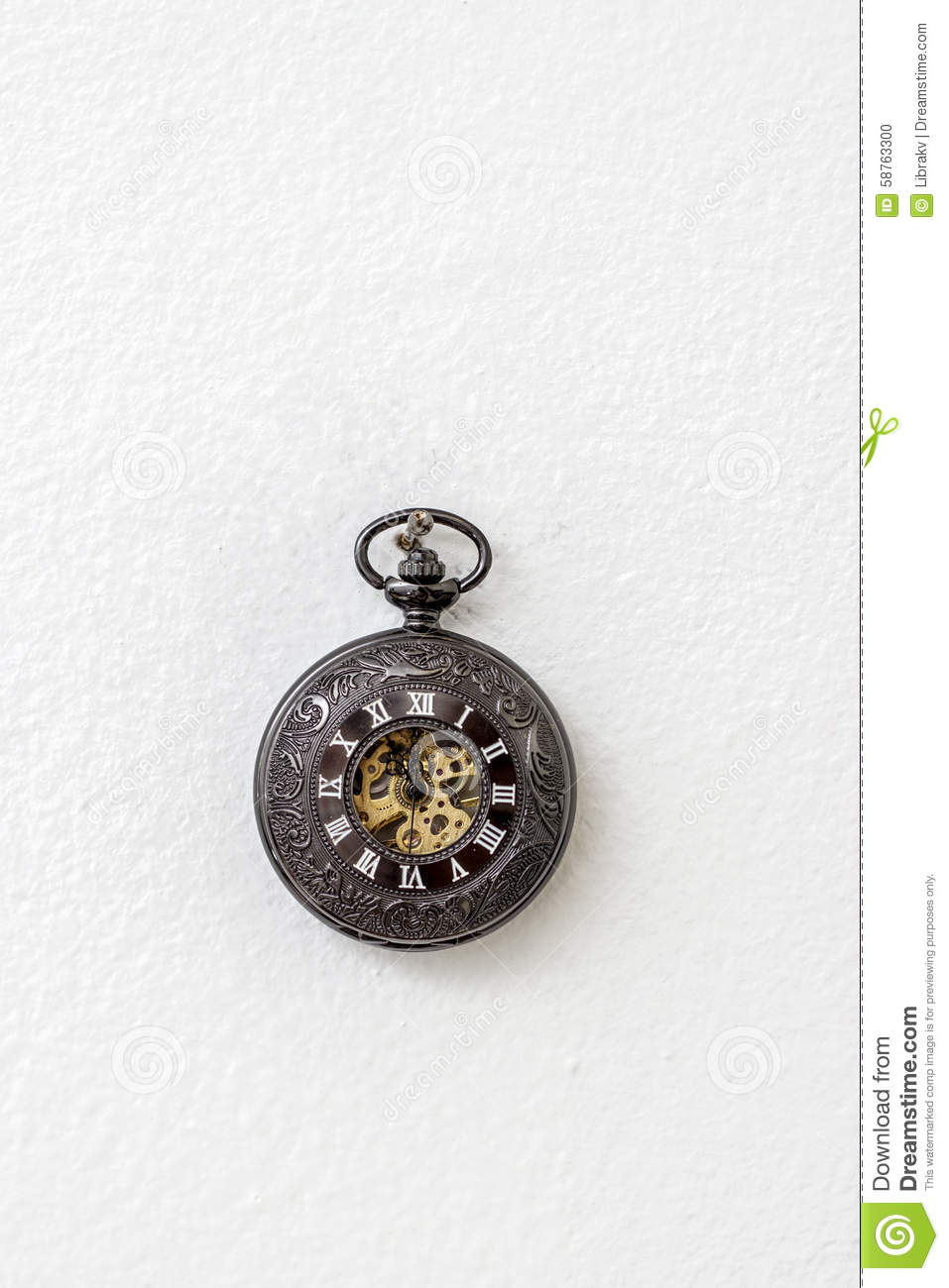 Old Pocket Watch Hanging On The White Wall Stock Photo ...