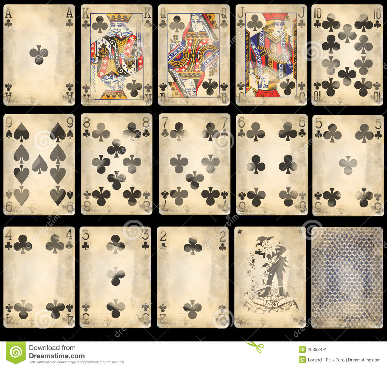Old Poker Playing Cards - Clubs