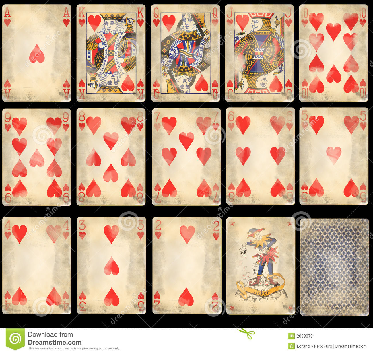 Old Poker Playing Cards - Hearts