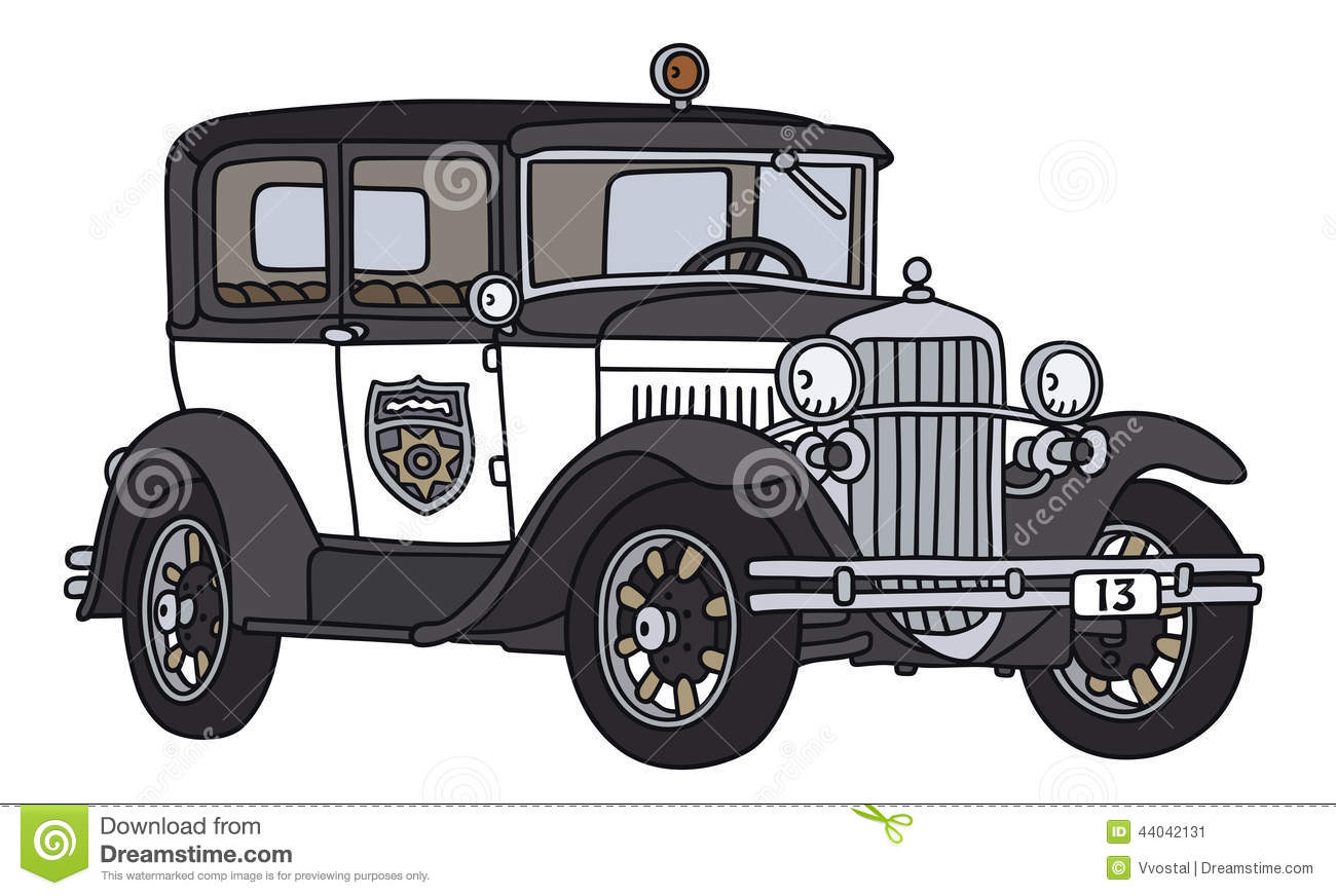 100+ [ Classic Cars Drawings ] | Old Police Car Stock Vector Image ...