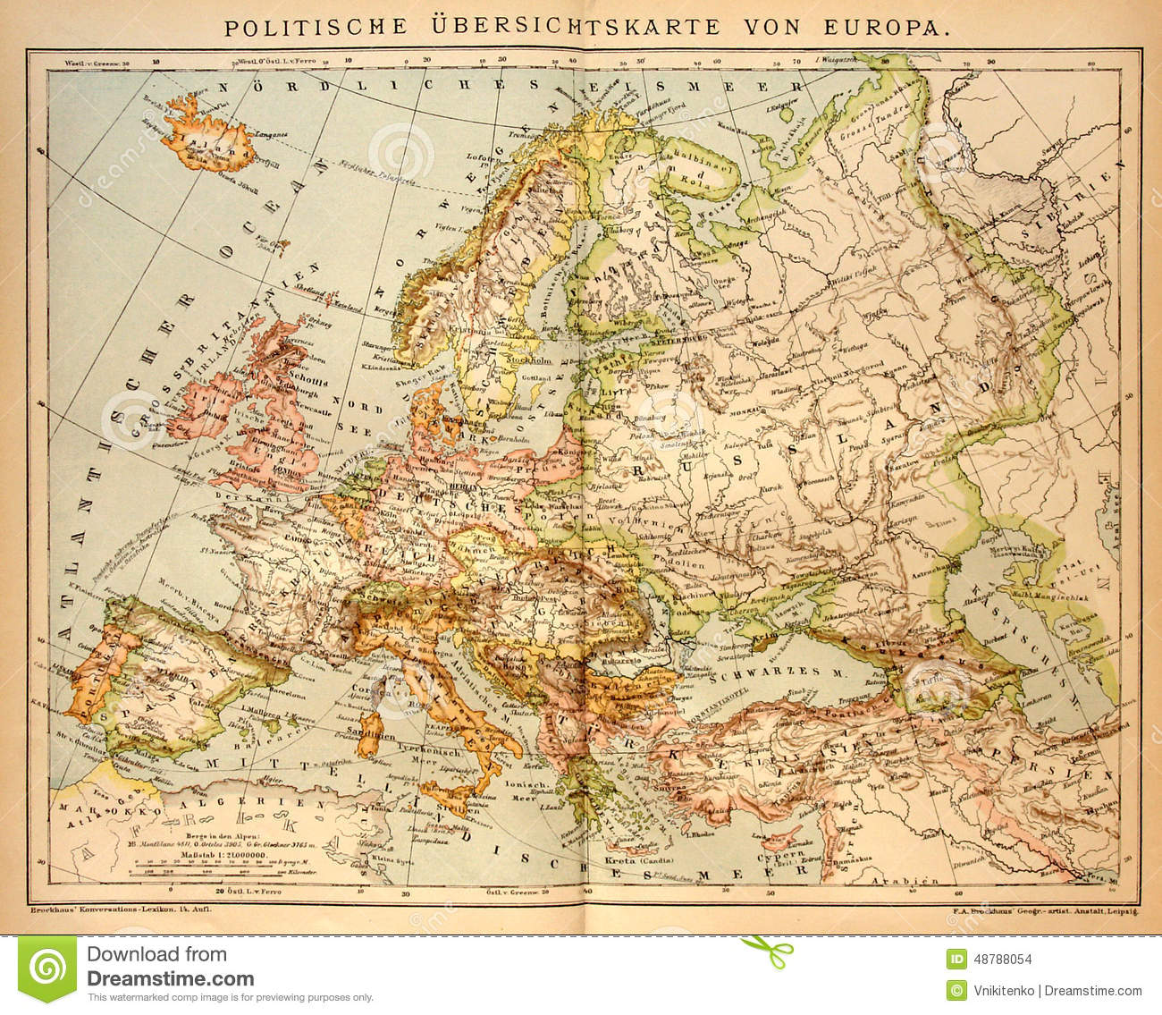 Old Political Map Of Europe Editorial Stock Image - Image of ...