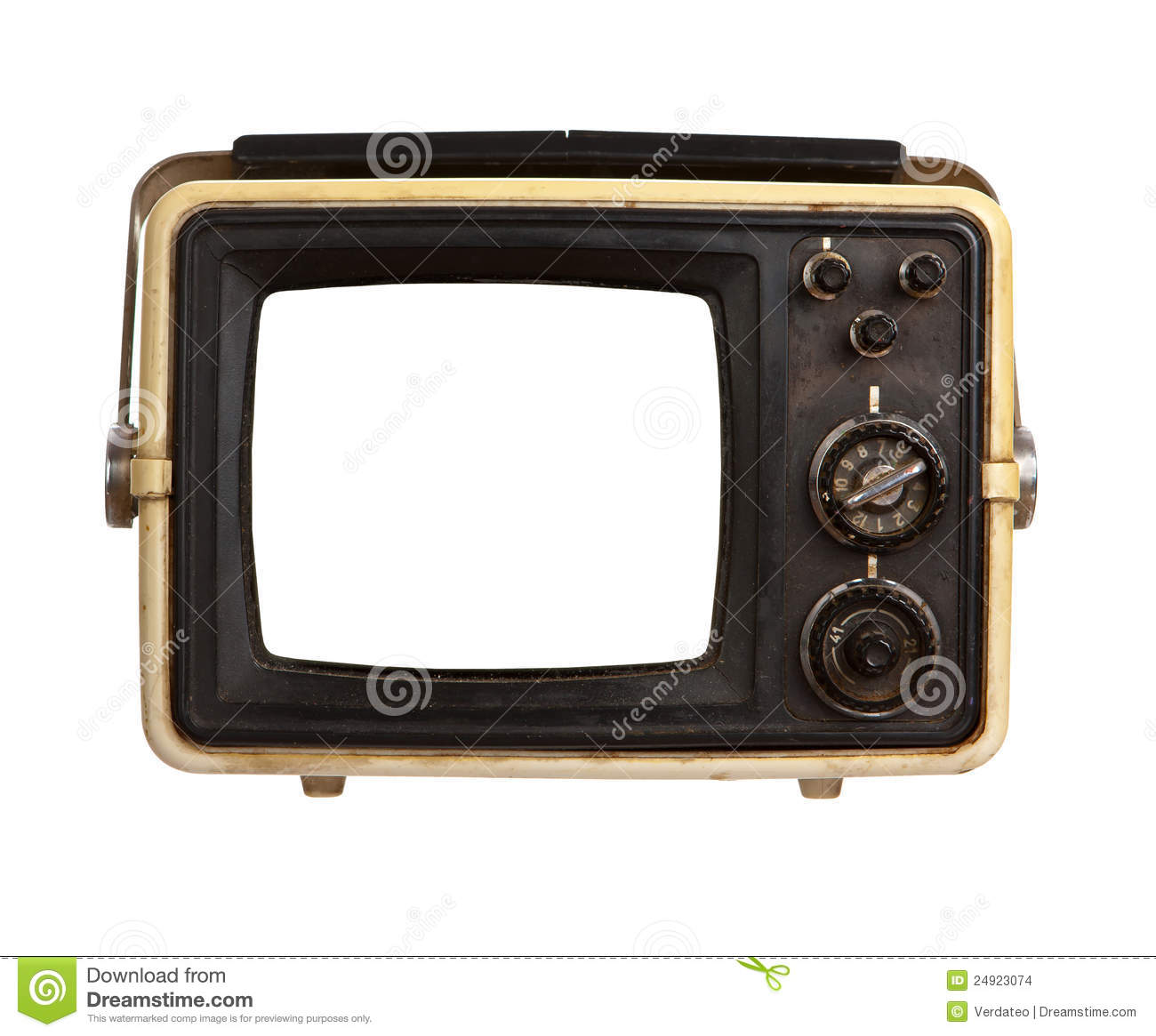 Portable Screen Tv : Old portable tv receiver with blank screen stock images