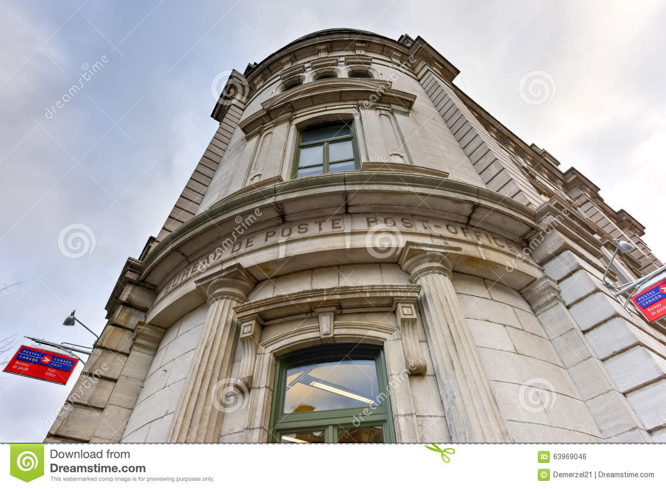 Old post office in quebec city editorial photo image of world