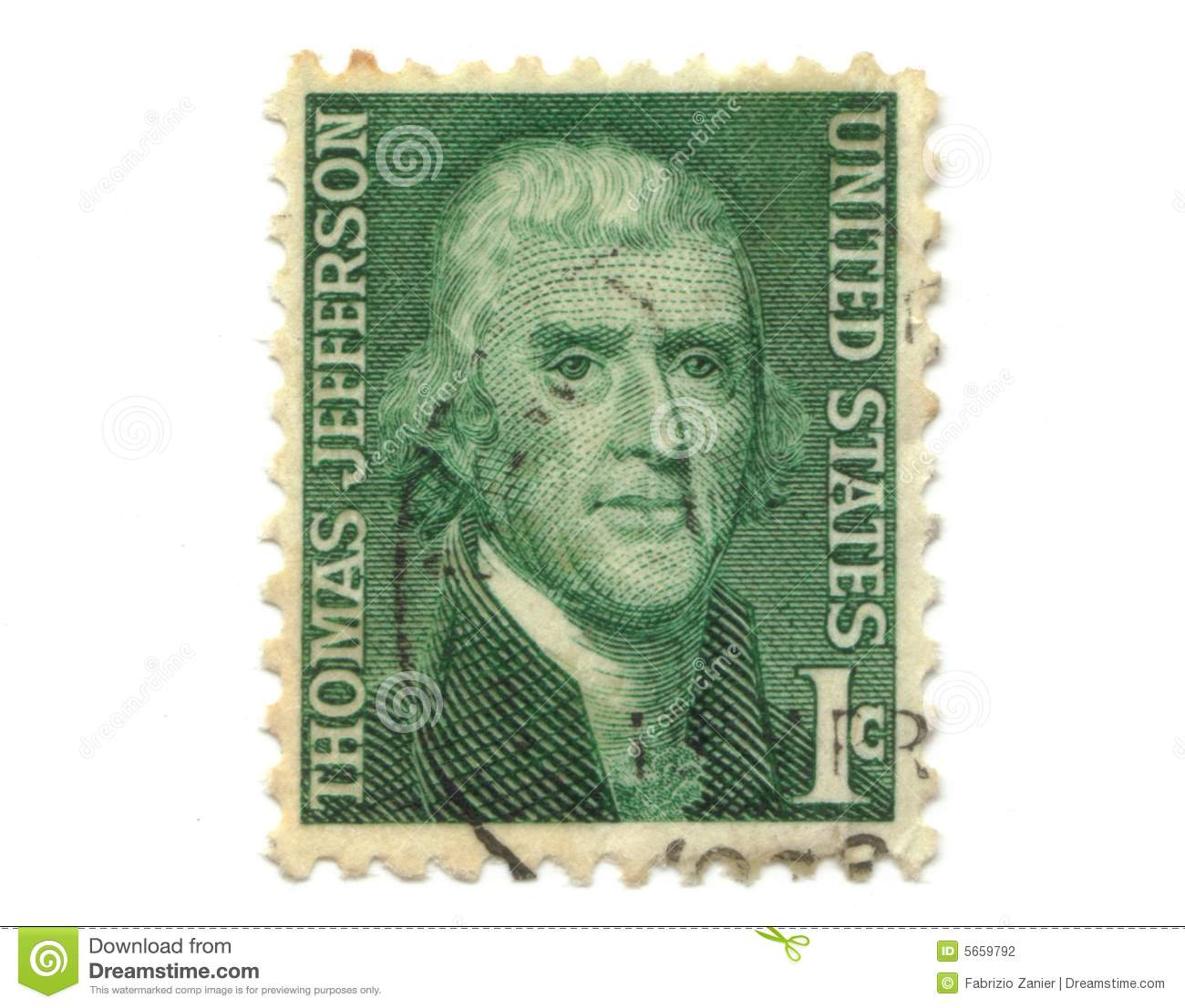 Old Postage Stamp From Usa 1 Cent Stock Photo Image 5659792