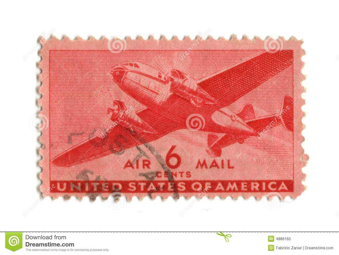 Old Postage Stamp From Usa Six Cent Stock Photo Image 4886160