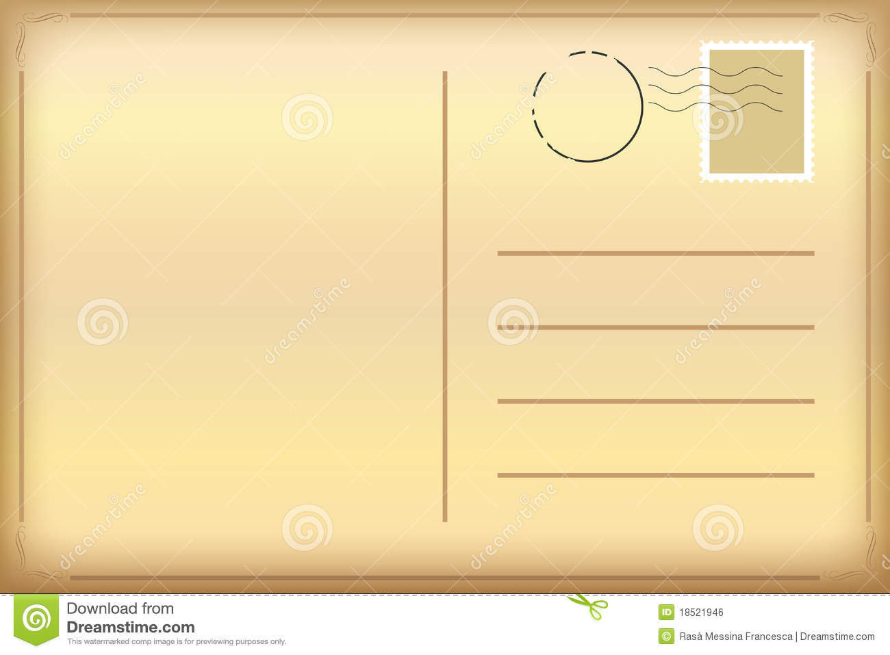 Old postcard stock vector. Illustration of brown, retro ...
