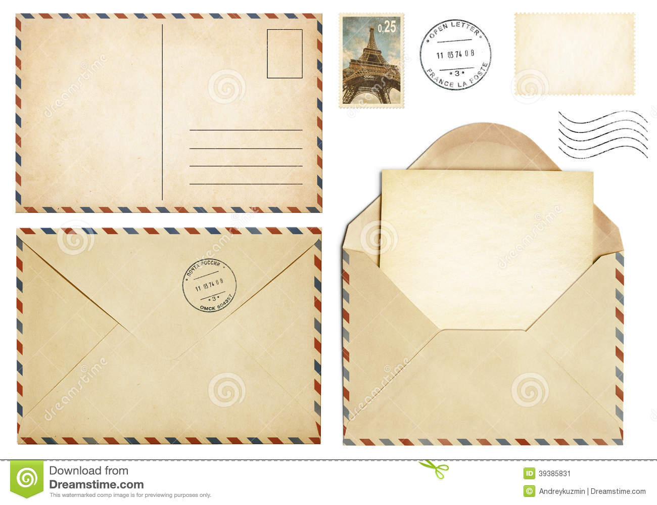 old postcard mail envelope open letter stamp collection