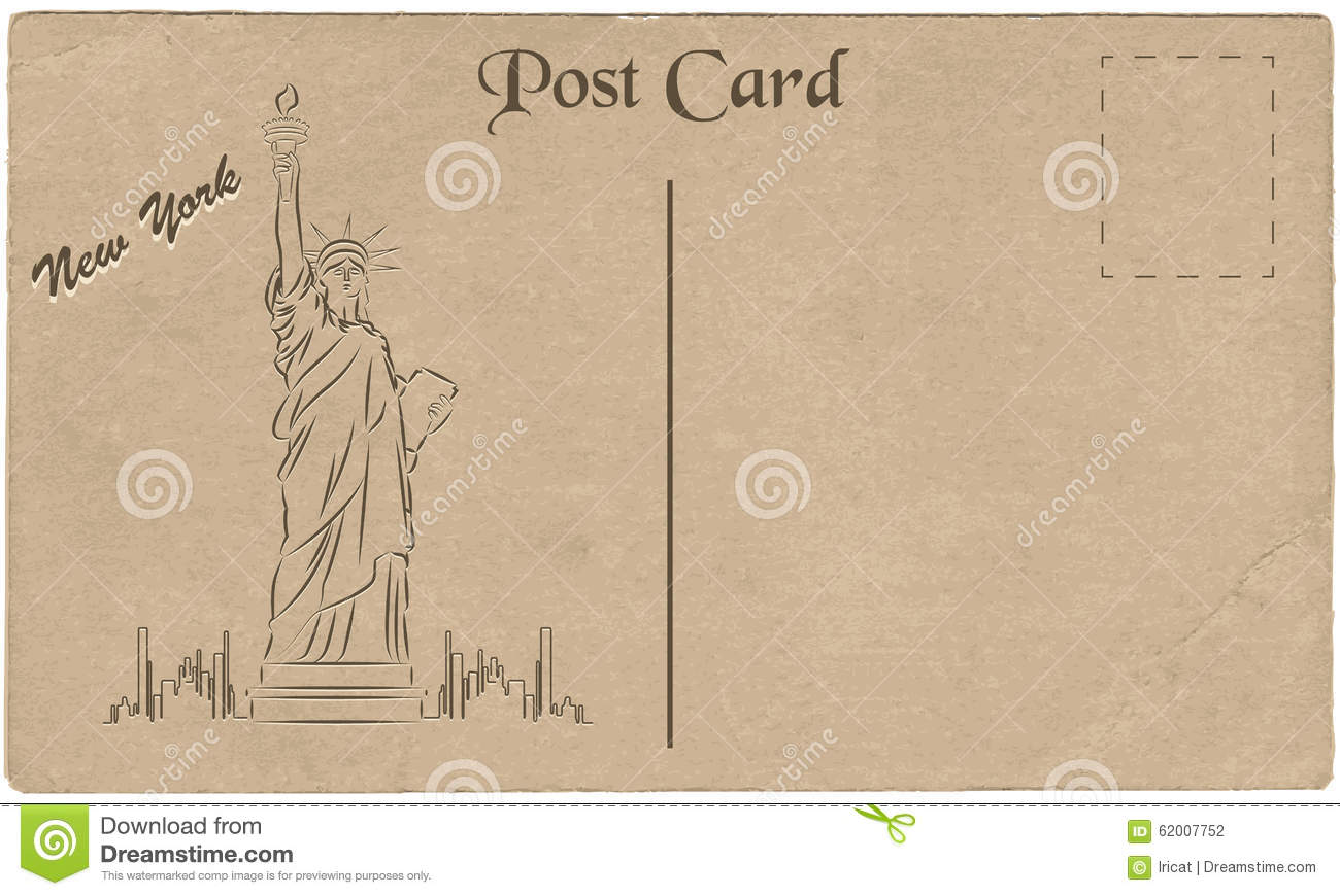 Old Postcard New York Usa Drawing Statue Liberty Stylization Vector Illustration on copper symbol