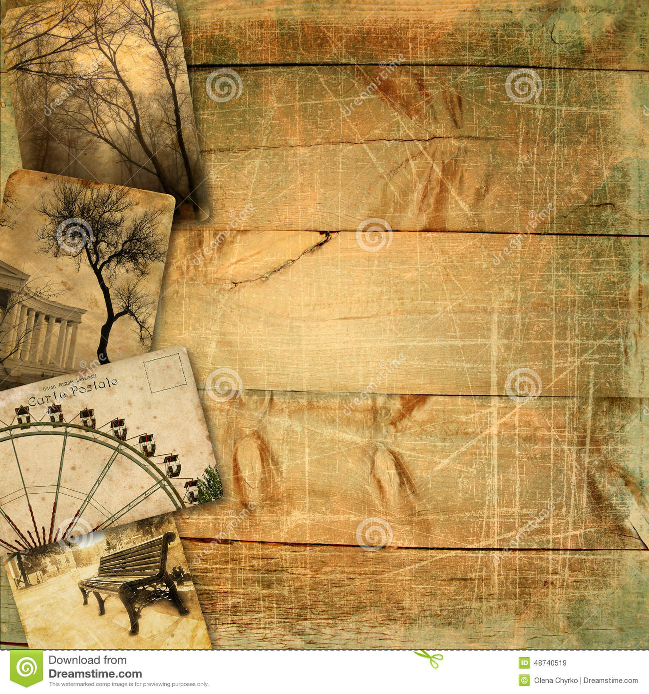 Photo Page: Old Postcards On Wooden Planks With Scratches And Texture