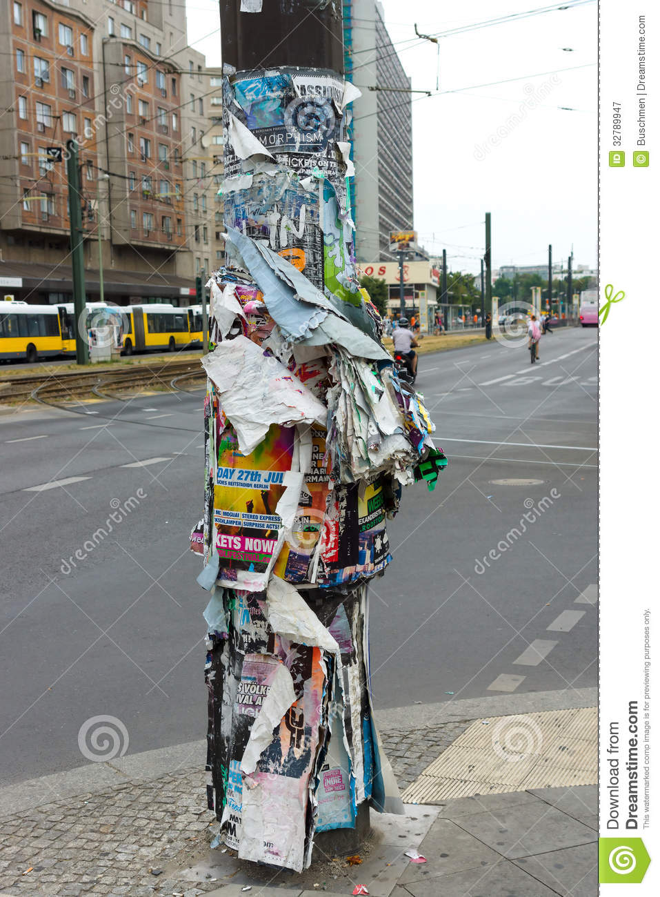 Old Posters On A Street Lamp Post Editorial Photography