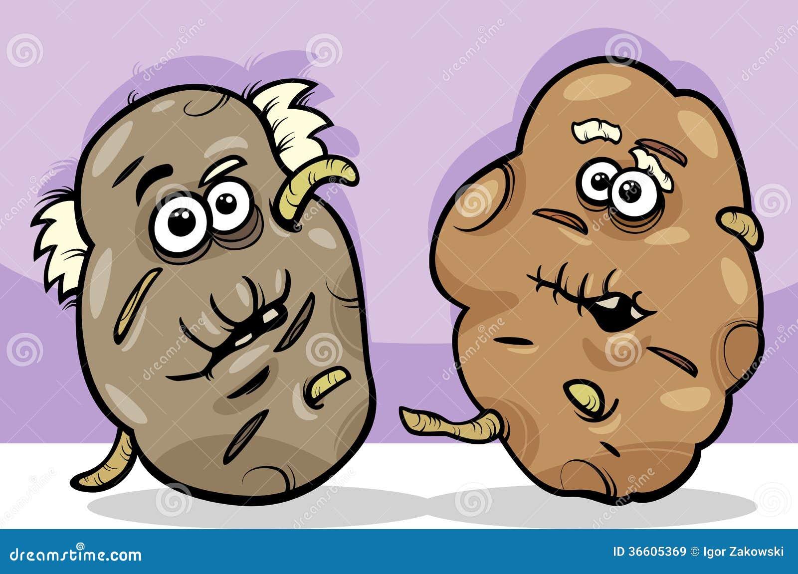 Cartoon Potatoes Without Faces