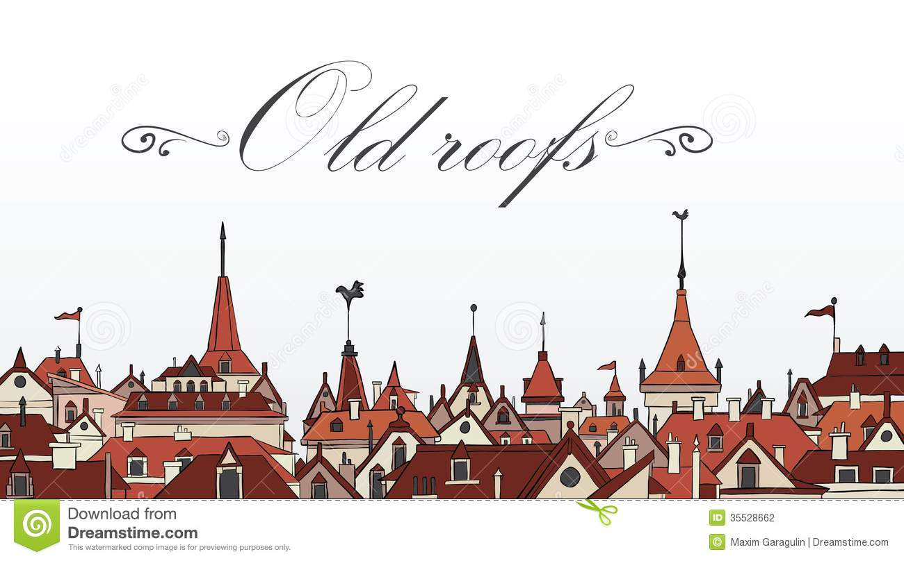 Old Prague Roofs Colorful Vector Illustration Stock